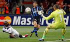 Javier Zanetti scores Inter's opening goal against Tottenham