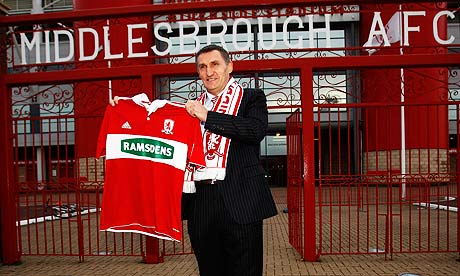 Newly appointed Middlesbrough manager Tony Mowbray poses with a Middlesbrough shirt