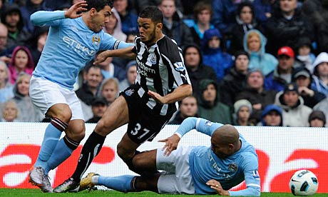 Manchester City v Newcastle United tackle on Hatem Ben Arfa