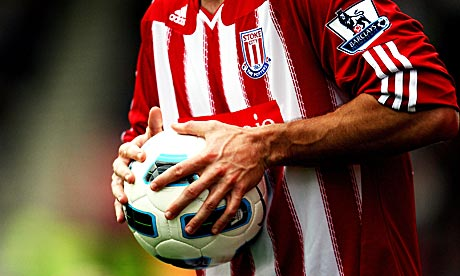 Rory Delap's hands holding a football, yesterday