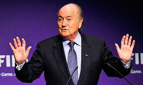 Sepp Blatter gestures during a Fifa press conference about the 2018 and 2022 World Cup bid process