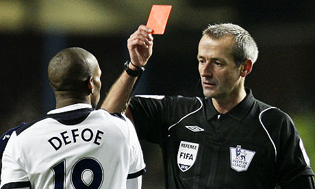 Tottenham Hotspur striker Jermain Defoe was on referee Martin Atkinson's Christmas card list