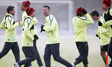 Manchester United train ahead of their Champions League match against Valencia