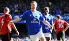 Dan Gosling celebrates putting Everton 2-1 up against Manchester United