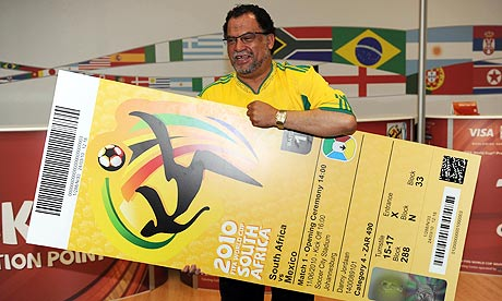 Danny Jordaan, unveils the official football World Cup ticket.