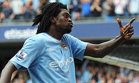 Manchester City's Emmanuel Adebayor celebrates