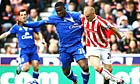 Stoke's Andy Wilkinson (right) and Victor Anichebe of Everton fight for the ball