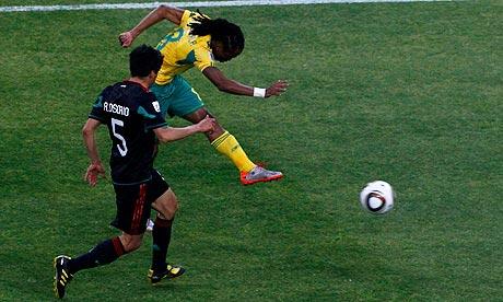 South Africa's Siphiwe Tshabalala scores