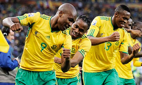 South Africa's Siphiwe Tshabalala celebrates with team-mates after scoring against Mexico