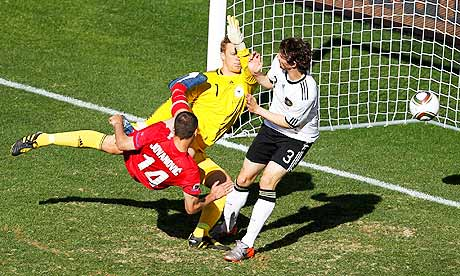 Serbia's Milan Jovanovic scores against Germany