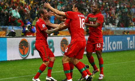 Raul Meireles of Portugal celebrates scoring