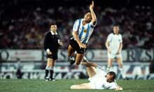Maradona getting his legs cut off by Uli Stielike