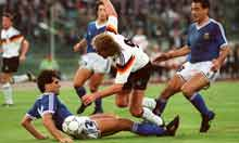 Voller getting kicked around like an old sock in the 1990 final