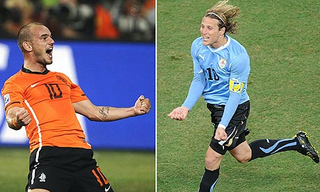 Holland's Wesley Sneijder and Uruguay's Diego Forlan