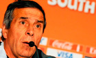 Uruguay's coach Oscar Tabarez speaks at
