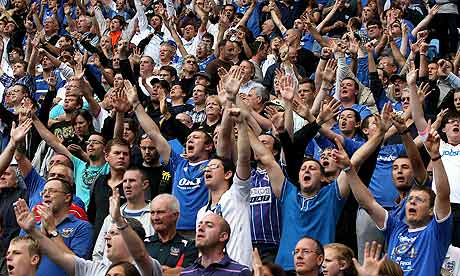 Portsmouth supporters make themselves heard at the Ricoh Arena