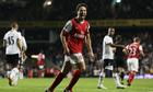 Arsenal's Samir Nasri celebrates putting his team ahead in the derby against Tottenham.