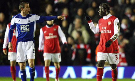 Bacary Sagna and Lee Bowyer Birmingham v Arsenal