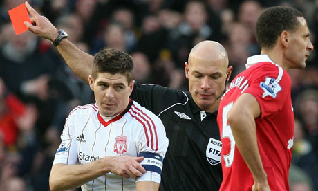 Steve Gerrard is sent off