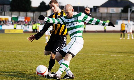 Celtic's Freddie Ljungberg and Berwick Rangers' David Greenhill
