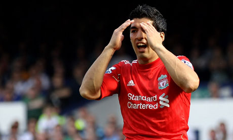 Luis Suarez of Liverpool reacts