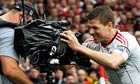 Liverpool's Steven Gerrard shouts into a television camera