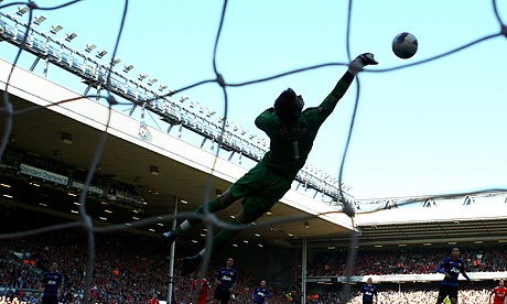 The Manchester United goalkeeper, David de Gea, saves a shot