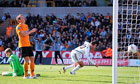 Swansea City's Danny Graham celebrates soring the first goal at Wolverhampton Wanderers