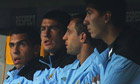 Manchester City's Carlos Tevez on the bench during the incident at Bayern Munich