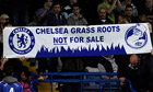 Chelsea Pitch Owners display a banner