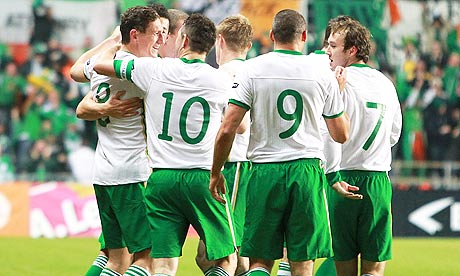 The Republic of Ireland players celebrate