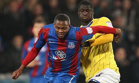 Kagisho Dikgacoi, scorer of Crystal Palace's goal, and Birmingham's Guirane N'Daw