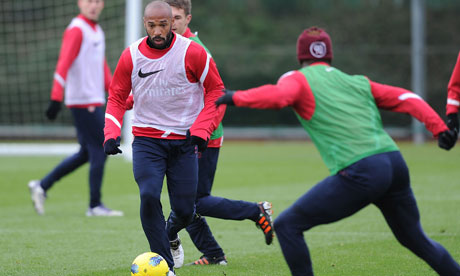 Thierry Henry of the New York Red Bulls during an Arsenal training session at London Colney