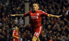 Liverpool's Craig Bellamy celebrates after scoring against Newcastle United at Anfield.