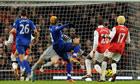 Louis Saha scores for Everton v Arsenal
