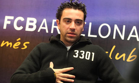 Barcelona's Xavi interviewed ahead of their Champions League match against Arsenal