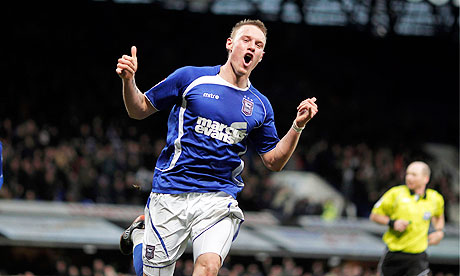 Connor Wickham celebrates scoring Ipswich Town's third goal