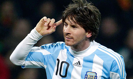 Lionel Messi celebrates his goal during Argentina's friendly win over ...