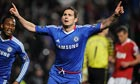 Frank Lampard celebrates scoring Chelsea's winner against Manchester United