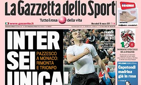 The front page of Gazzetta dello Sport after Inter's win over Bayern