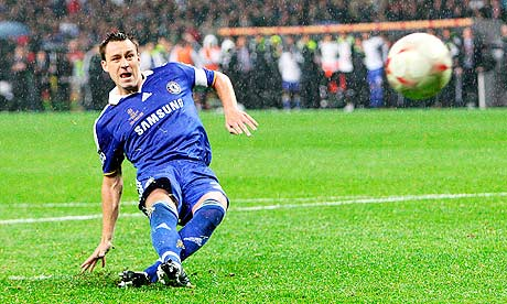 Chelsea's John Terry slips taking a penalty in the Champions League final against Manchester United