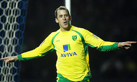 Aaron Wilbraham celebrates scoring Norwich's third goal in the victory at Leicester
