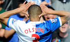Blackburn Rovers' Martin Olsson celebrates scoring against Bolton Wanderers