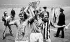 Peter Barnes, Dave Watson, and Dennis Tueart celebrate Manchester City's 1976 League Cup win