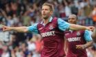 Thomas Hitzlsperger of West Ham United celebrates scoring his equaliser against Blackburn