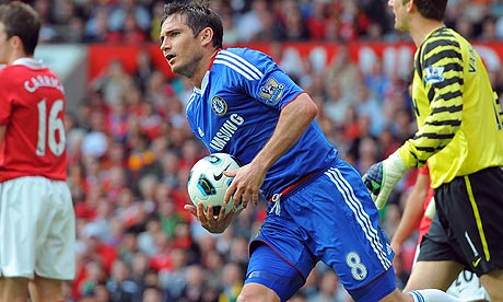 Frank Lampard runs back towards the centre circle after scoring for Chelsea at Manchester United