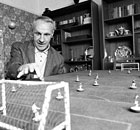 Bill Shankly plays Subbuteo in 1976