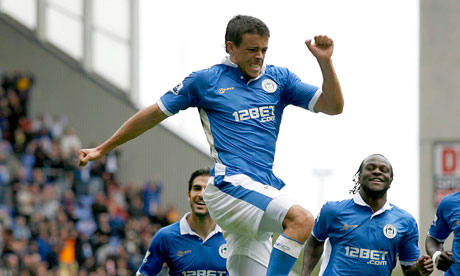 Franco Di Santo celebrates after scoring Wigan's first goal