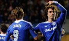 David Luiz points to team-mate Fernando Torres after scoring Chelsea's first goal