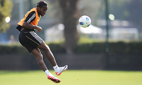 Didier Drogba in training with Chelsea